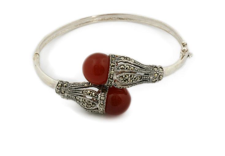 Srebrna bransoletka z karneolem i markasytem