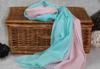 turkusowy cieniowany szal z bawelny